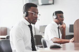 men in a call center